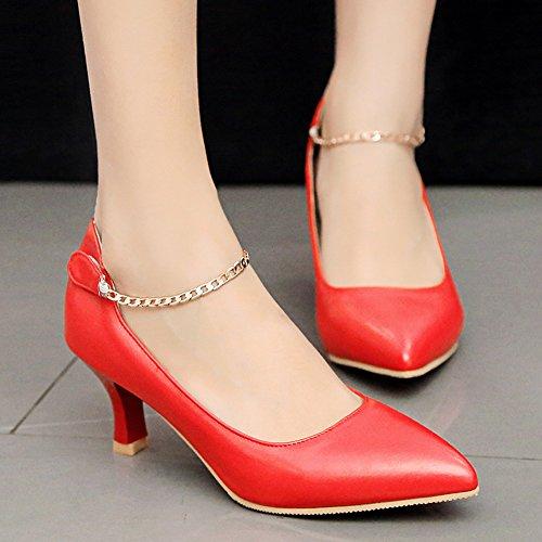 Easemax Womens Elegante Caviglia Catena Punta A Punta Scarpe Basse Basse Alte Tacco Grosso Scarpe Rosse
