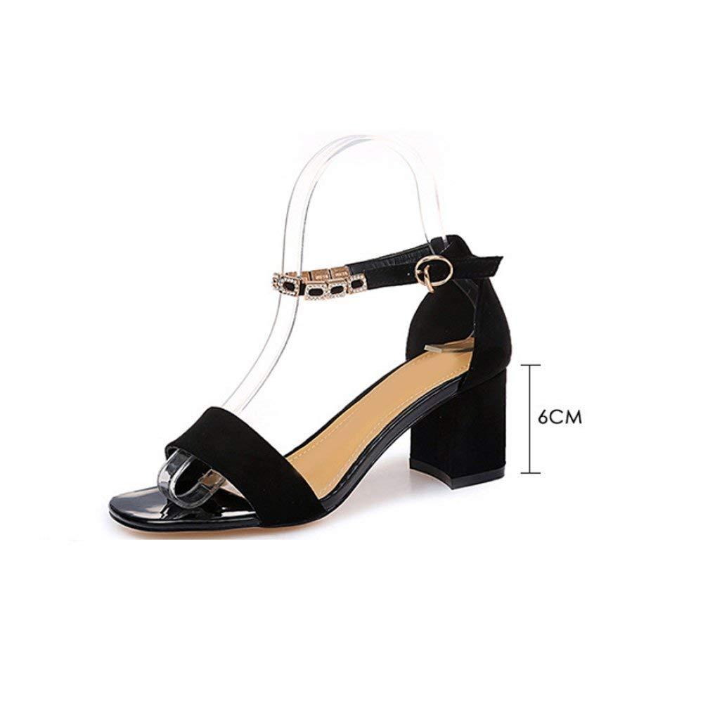 Eeayyygch Eeayyygch Eeayyygch High-Heeled Sandalen weiblichen Sommer koreanische One-Button Schnalle Zehe dick mit Damenmode Schuhe (Farbe   Rosa, Größe   37) 73f746