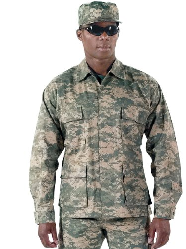 Camouflage Military BDU Shirt, Army Cargo Fatigues (Polyester/Cotton Twill)