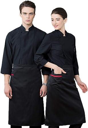 WYCDA Cocina Unisex Uniforme de Manga Larga Blanca Camisa de Cocinero Cocina Uniforme Chef Camarero Escudo Cocineros Ropa Uniforme M-3XL,Negro,M: Amazon.es: Hogar