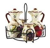Lorren Home Trends Hazel Collection Condiment Set with Stand