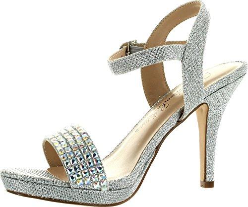 Robin DeBlossom 107 Ankle De Dress Party Sandals Strap Blossom Silver Womens wqqCHgxt1