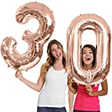 30th Birthday decorations Party supplies-30th Birthday Balloons Rose Gold,30th birthday banner,Table Confetti decorations,30th birthday for women,use them as Props for Photos