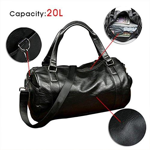 Bags Fitness Classic Travel Leather Shoulder Handbag Brown Men's Workout Gym Black Bag Pu Sports Tofree xz8YwqIC