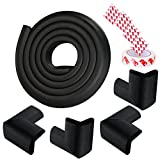 Baby Safety Profing Edge Corner Guards Set 6.5ft Edge Cushion+4 Corner Cushion Extra Thick (12 mm) Baby Foam Safety Toddler Protector Child Soft Non-Toxic Strip Softener Bumper Protector (Black)