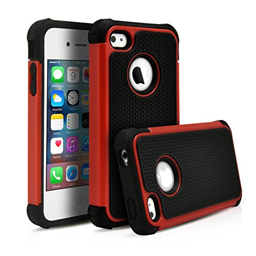 iPhone 4, 4S Case, MagicMobile Hybrid Heavy Duty Protective Case for Apple iPhone 4 & 4S Hard Pc Armor + Shock Absorbent Rugged Silicone Dual Shockproof Layer Cover - Black / Red