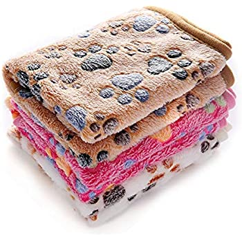 luciphia 1 Pack 3 Blankets Super Soft Fluffy Premium Fleece Pet Blanket Flannel Throw for Dog Puppy Cat Paw Medium