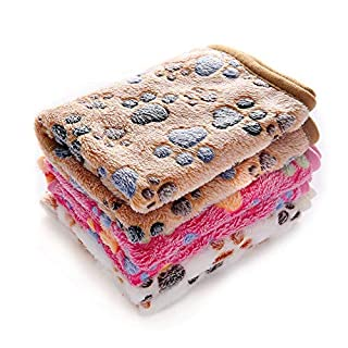 Luciphia 1 Pack 3 Blankets Super Soft Fluffy Premium Fleece Pet Blanket Flannel Throw for Dog Puppy Cat Paw Brown/Pink/White Large