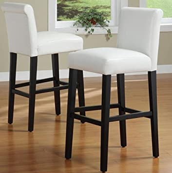 Genial INSPIRE Q Bennett Solid Wood And White Faux Leather Upholstered 29 Inch Bar  Height Stools