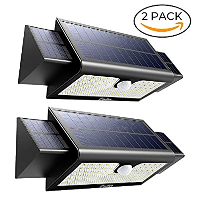 Motion Sensor Solar Light Outdoor, Zanflare 71 LED Solar Security Outdoor Light, Super Bright Solar Powered Wall Path Light for Patio, Deck, Yard, Garden, Garage, Pathway, Fence(2 Pack)