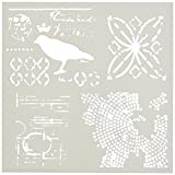 Crafters Workshop Raven Mosaic Crafter's Workshop Template, 6 by 6''