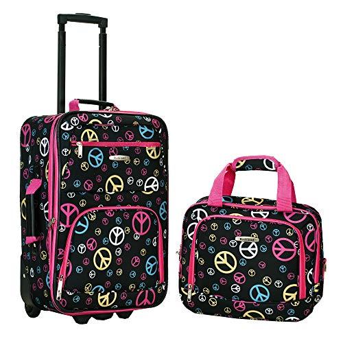 Rockland Luggage 2 Piece Printed Luggage Set, Peace, Medium (Teenage Girl Gift For Best Christmas)