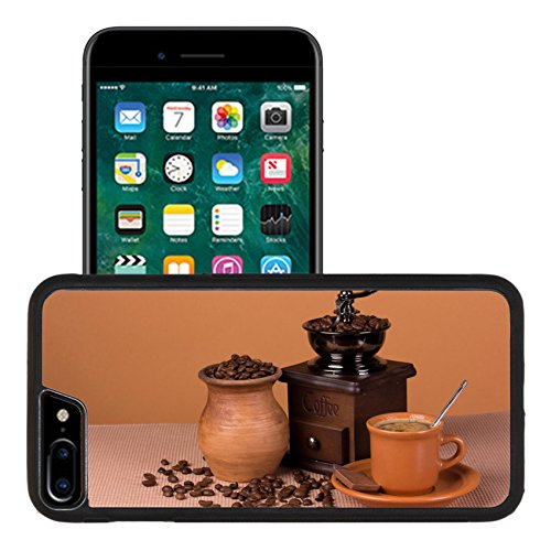 Liili Apple iPhone 7 plus iPhone 8 plus Aluminum Backplate Bumper Snap iphone7plus/8plus Case Vintage coffee grinder cup with a drink and a pitcher with roasted beans 29254706
