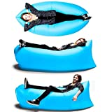 Fast Inflatable Camping Sofa banana Sleeping Bag Hangout Nylon lazy lay laybag Air Bed chair Couch Lounger (Blue)