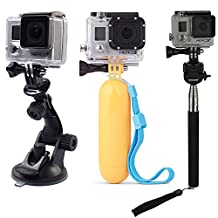 Qkoo Accessories Kit Bundle for Gopro Hero4 Black/Silver HD Hero 4/3+/3/2/1 SJ4000 SJ5000 Camera, in Diving Surfing Skiing Climing Cycling Yachting Snowboarding Ice Skating Sledding Snowmobiling Parachuting Rowing Running Camping Swimming Climbing Bike Riding Outing Any Other Outdoor Sports, Extendable Selfie Handle Monopod Stick + Suction Cup Mount + Yellow Hand Grip Floating Mount + 2x Tripod Mount Adapter + 3x Screws