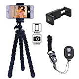 Linkcool Flexible Portable and Adjustable Tripod Stand Holder,Tripod for iPhone, Android, Any Smartphone+Camera with Universal Clip and Remote
