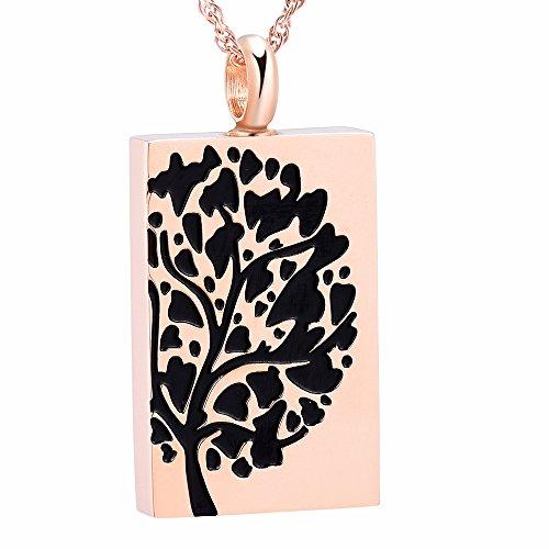 Rectangular Cremation Jewelry Keepsake Memorial Urn Locket Tree of Life Necklace (Rose Gold)