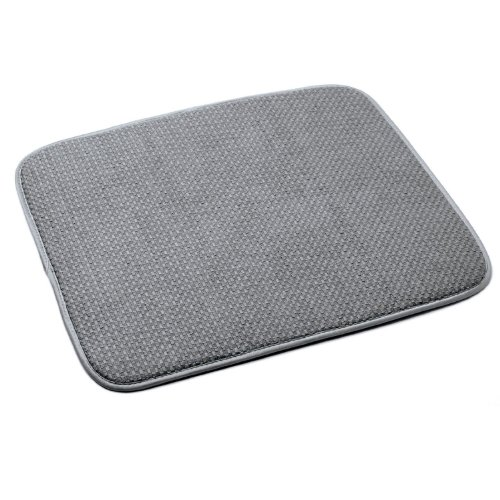 Norpro 18 by 16-Inch Microfiber Dish Drying Mat, Gray (Best Towels For Drying Dishes)