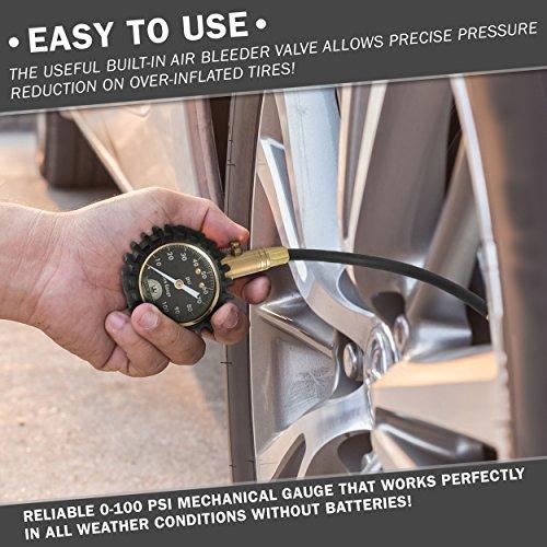 Motor luxe tire pressure gauge 100 psi accurate heavy for Motor luxe tire pressure gauge 100 psi