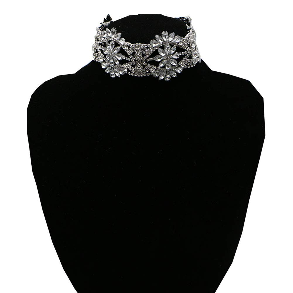 NABROJ Rhinestone Trendy Stylish Bling Choker Statement Necklace Chain for Women Novelty Necklace for Daily Party Clue Show 1 PC Silver Jewelry-HL08 Silver