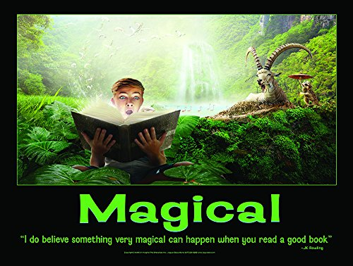 (Magical Laminated Elementary Character Education Poster to Promote Reading Featuring a Quote by J.K. Rowling)