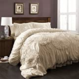 Lush Decor 3 Piece Serena Comforter Set, King, Ivory