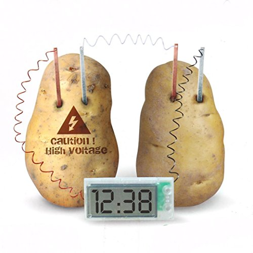 Fheaven Potato Powered Digital Clock - Scientific Educational Kids Fun Novelty Toy Game Best Gift for Over 8Y Kids