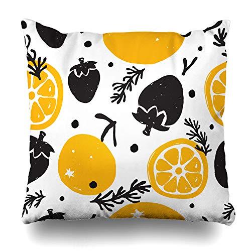 - Ahawoso Throw Pillow Cover Square 20x20 Green Pattern Orange Strawberry Basil Food Red Drink Summer Abstract Bio Cute Design Tasty Home Decor Cushion Case Pillowcase