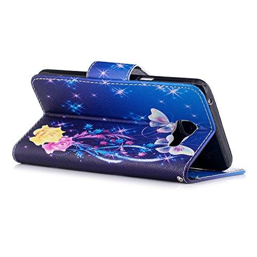 Para Samsung Galaxy A5 2017/A520 funda, (Nightingale solo) caja del teléfono de la PU patrón en pintado ,Función de Soporte Billetera con Tapa para Tarjetas soporte para teléfono Bailarina de mariposas