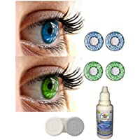 Soft Eye Combo Pack of 2 Monthly Color Contact Lenses (Zero Power) with Free Lens solution and Case (blue & green)