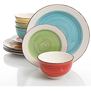 Gibson Home Confetti Band 12 Piece Mix and Match Dinnerware Set Assorted Colors  sc 1 st  Amazon.com & Amazon.com | Gibson Home Confetti Band 12 Piece Mix and Match ...