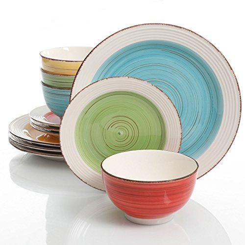 51tVyRJ5SyL - Gibson Home Confetti Band 12 Piece Mix and Match Dinnerware Set, Assorted Colors