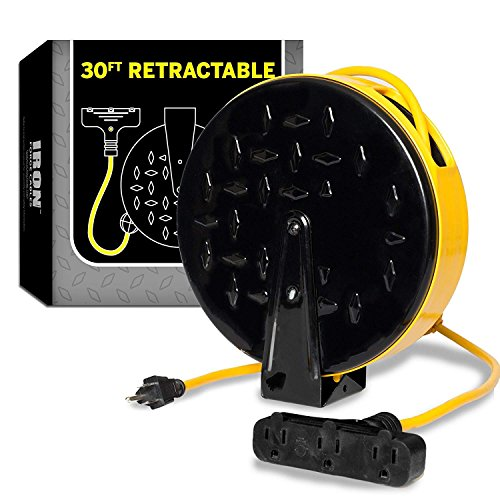 30Ft Retractable Extension Cord Reel with 3 Electrical Power Outlets – 16/3 Durable Yellow Cable – Perfect for Hanging from Your Garage Ceiling