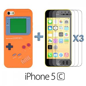 Gameboy Style Silicone Case forDiy For Iphone 6 Case Cover Orange with 3 Screen Protectors