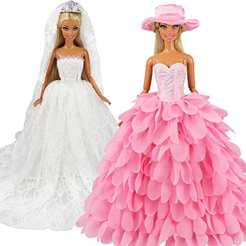 Dress with Veil and Pink Princess Evening Party Clothes Wears Gown Dress Outfit with Hat for 11.5 Inch Girl Doll ()