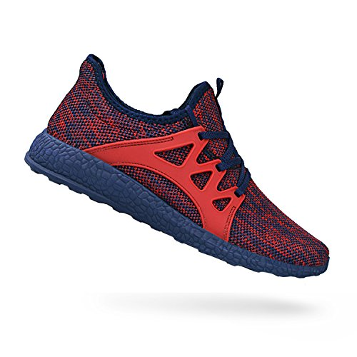 QANSI Men's Sneakers Ultra Lightweight Breathable Mesh Athletic Running Shoes Red/Blue 8 D(M) - Running Red