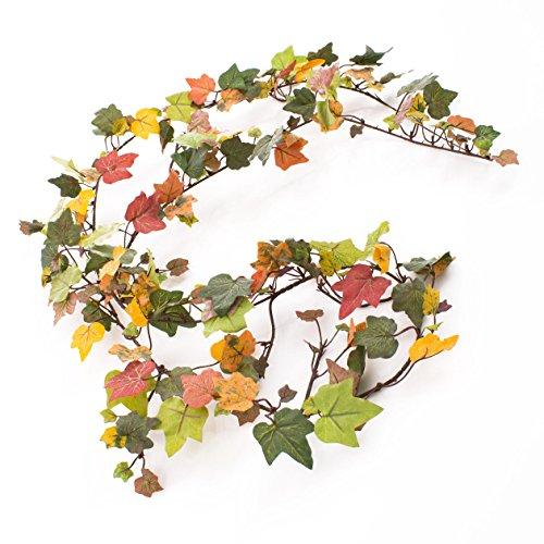 Efeugirlande mit 197 Blättern in Herbstgrün,180cm - Künstliche Girlande