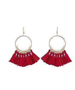 Arichtop Femmes Mode Bohème Ethnique Frangé Gland Boucles D'oreilles Or Rond Cercle Anneau Pendaison Pendants Boucles D'oreilles Jewelr