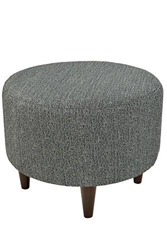 Contemporary Round Ottoman (MJL Furniture Designs Sophia Collection Oliva Series Contemporary Round Ottoman, Smoke Gray/Wooden Legs)