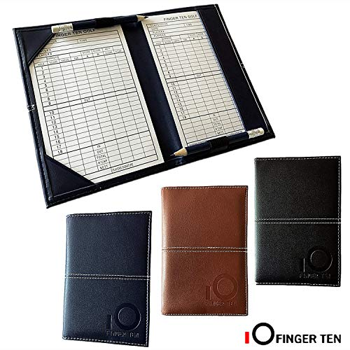FINGER TEN Golf Scorecard Holder Yardage Cover with 2 Free Golf Pencil 2 Score Card Sheet, Deluxe Color Black Blue Brown Gift Pack (Black)