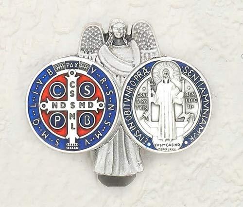 Angel Pendant Enameled (LMM001 Saint Benedict - Guardian Angel - Enameled Visor Clip - Pack of 3)