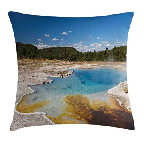 (Lunarable Yellowstone Throw Pillow Cushion Cover, Sapphire Pool at Biscuit Basin Upper Geyser Volcanic Water Rocky Mountains, Decorative Square Accent Pillow Case, 26 X 26 Inches, Multicolor)