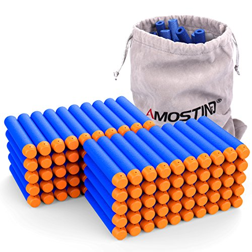 AMOSTING Refill Darts 100PCS Bullets Ammo Pack for Nerf N-Strike Elite Series - Blue