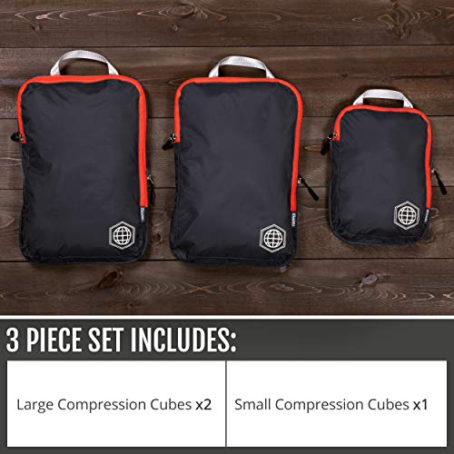 Packing Cubes Travel Organizer- Compression Travel Bags (Grey and Orange, 3 Piece Set)