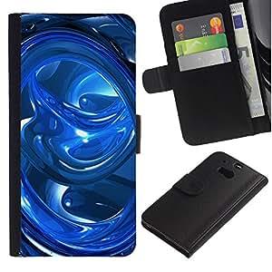 A-type (Abstracto azul de los remolinos) Colorida Impresión Funda Cuero Monedero Caja Bolsa Cubierta Caja Piel Card Slots Para HTC One M8
