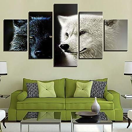 Mur Moderne Art Picture5 Pieceforest Animal Noir Blanc Wolf