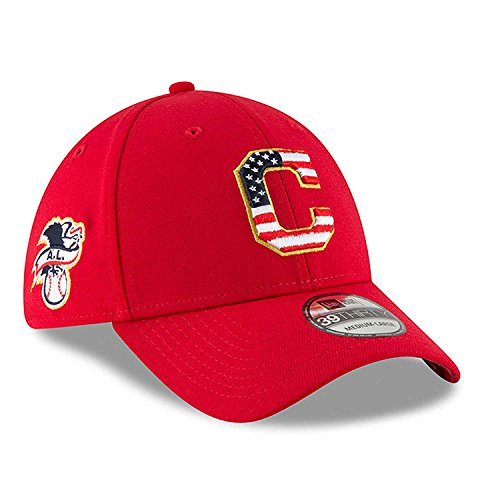 Cleveland Indians Star - Cleveland Indians New Era 2018 Stars & Stripes 4th of July 39THIRTY Flex Hat Red (Medium/Large)