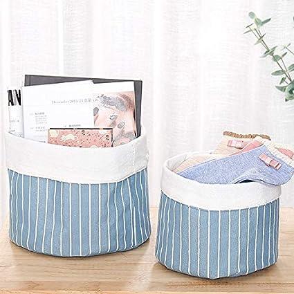 Rayas Azules Weimay Plegable Ropa Sucia Canasta de Almacenamiento Canasta de Almacenamiento Organizador de Juguetes para ni/ños Canastas de Ropa para lavander/ía 16.5 cm 13 cm