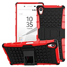 Sony Xperia Z5 Premium Case - MoKo Heavy Duty Rugged Dual Layer Armor with Kickstand Protective Cover for Sony Xperia Z5 Premium 5.5 Inch Smartphone 2015 Edition, RED