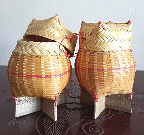 2-pieces-handmade-thai-laos-sticky-rice-serving-bamboo-wicker-basket-storage-classic-natural-traditi